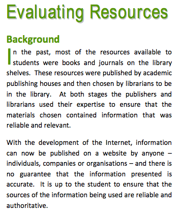Extract from QUT Library StudyWell resource
